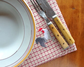 Gingham Napkins set of 4 Roosters & Chickens Hand Embroidered Cotton Linen + 20 Dollars off!