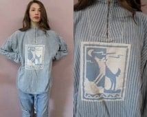 Oversize Wolf Moon Sweatshirt//vintage 70s 80s blue stripe moon zip front poncho baggy hippy top shirt tunic//oversize fit