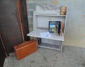 Antique Oak Gray Shelf/Desk