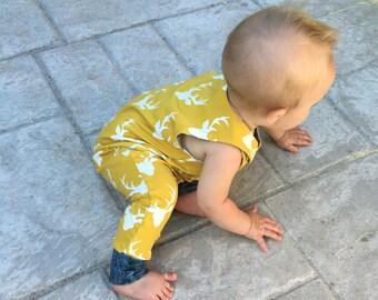 Harem romper, baby romper, romper, summer outfit, baby deer, 0-3 months, 3-6 months, 6-12 months, 12-18 baby outfit, mustard deer, one piece
