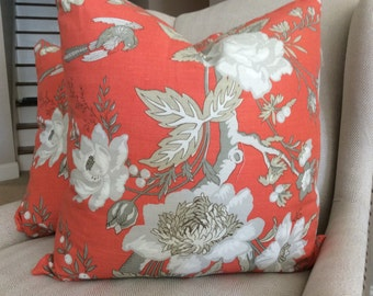 Thibaut Pillow Cover in Coral and Taupe Nemour from the Enchantmant Collection, Linen Backing