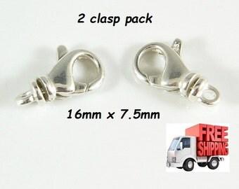 2 Pack 925 Sterling Silver Teardrop Swivel Lobster Clasp 16mm x 7.5mm