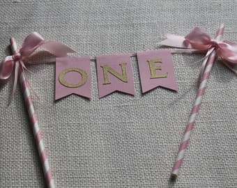 Pink and gold Bunting Cake, Customized Bunting Cake Topper Decoration. Pink and gold party