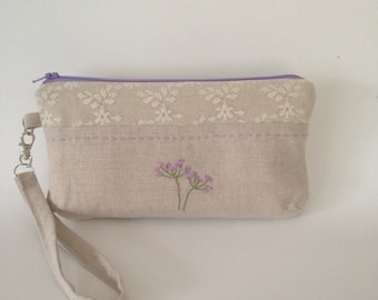 Wristlet / Clutch / zipper pouch/ Lace & hand embroidered