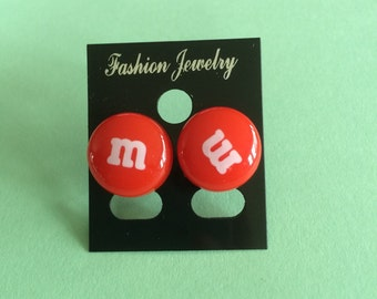 Red M&M Earring Studs