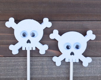 Skull and Crossbones Cupcake Toppers, White Glitter Skull amd Crossbones Toppers, Skull Cupcake Toppers, Halloween Food Picks (Set of 12)