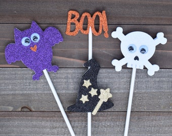 Halloween Cupcake Toppers. Skull Cupcake Toppers, Witches' Hats Cupcake Toppers, Glitter Halloween Cupcake Toppers,  (Set of 12)