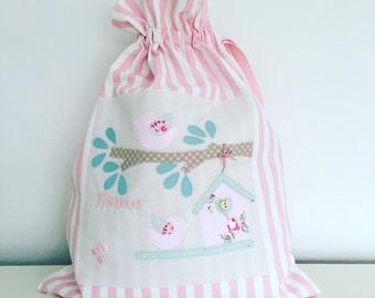Personalised bird and birdhouse drawstring bag