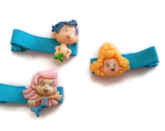 Bubble Guppies Clippie Set, Toddler Hair Clips, Hair Barrettes, Hairbows, Bubble Guppies Bows, Alligator Clippies