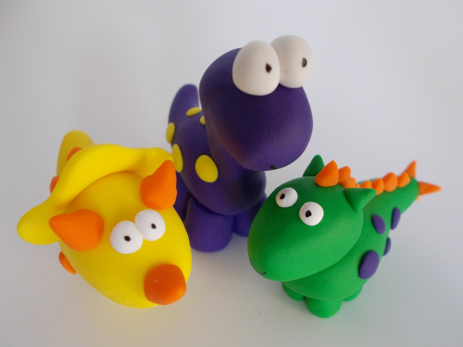 dinosaur cake topper set by amyallgoodthings on Etsy