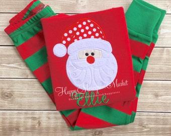 Monogrammed Christmas Santa pajamas Xmas pjs with name Baby Toddler Kid Christmas photos Children's personalized pjs Family Pajamas