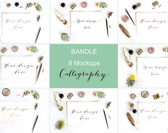 Set of 8 Styled Desktop / Mock up. Calligraphy collection.