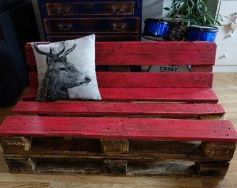 Farmhouse Reclaimed Pallet Couch Bench, Shabby Chic Upcycled Industrial Rustic