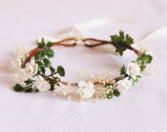 Small White Rose Flower Crown / floral, leaves, baby's breath, headpiece, wedding, handcrafted, nature