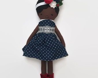 Personalized Rag Doll, Personalized Girl Gifts, Personalized Baby Gifts, Personalized Cloth Doll, Handmade Cloth Doll, African American Doll
