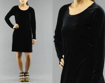 Basic zwarte velours Midi Shift jurk van Moda Int'l Size Xs Women's 90 's Vintage