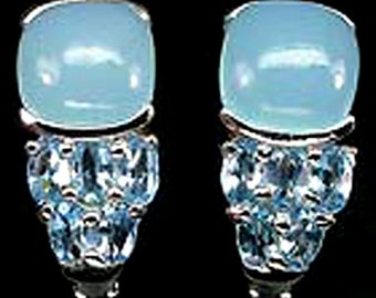925 Silver Natural Blue Topaz & Baby Blue Chalcedony earrings