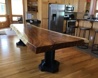 Corolla Live edge dining table Live edge with a hand crafted custom pedestal base, unique dining table, custom slab table conference table