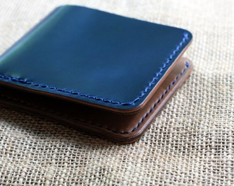 Horween Shell Cordovan Men's Traditional Leather Bifold Wallet (navy blue)