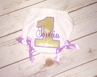 Purple and gold personalized bloomers