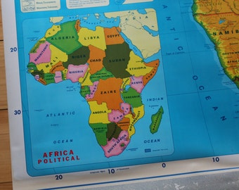 Pull down teaching maps of Africa