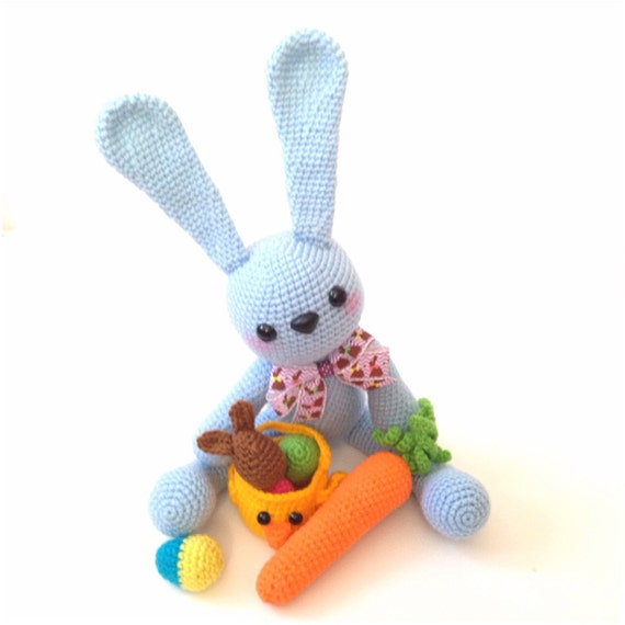 Amigurumi Bunny Easter Bunny Crochet Easter Eggs Basket Rabbit Carrot Kawaii Stuffed Animal Stuffed Toy Gift for Kids Easter Gift Ideas