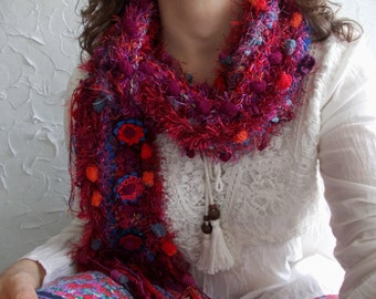 Red Love...Hand knit multicolored scarf with crochet flowers, perfect gift, winter fashion, multicolored pom pom airy soft neck warmer.