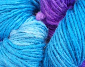 Unicorn a Hand-dyed a Combination of Purple and Turquoise in a Single Ply worsted weight Domestic Soft Merino Wool