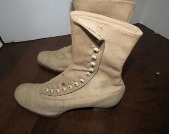 Vintage  1900s Style Canvas Side Button Boots - Repro or Antique ??