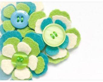 Harper - Set of 3 Handmade Felt Flower Embellishments / Flower Appliques / Felt Blooms / Felt Die Cuts / Felties / Felt Craft Supply / FF900