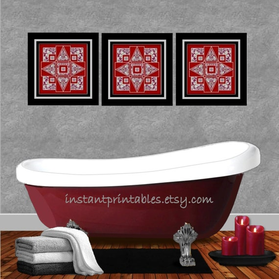 Red Bathroom Wall Decor Burgundy Maroon Gray By InstantPrintables