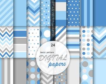 Blue & gray digital paper baby blue grey and blue baby boy part baby shower printable invitation polka dots stripe chevron light soft blue