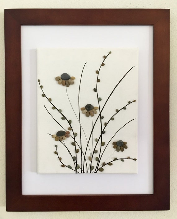 Pebble art flowers canvas art framed art mixed media for Stone wall art