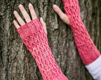 Hand Knit Honeycomb Gauntlet Fingerless Mittens in Sweet Georgia Colorway Pink Grapefruit