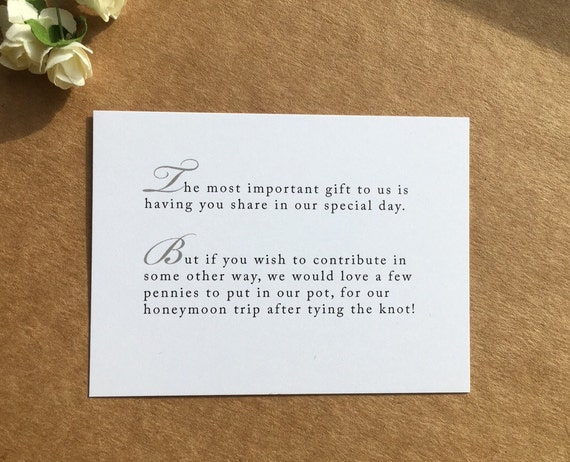 Wedding Gift Information Card : Wedding Invitation Poem for money honeymoon poem card gift information ...