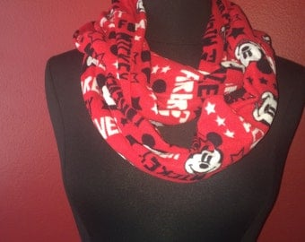 Repurposed/Upcycled Mickey Mouse Infinity Scarf