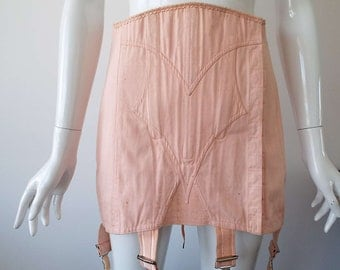 Rare Vintage 1940's French 'Liane' Pink Corset Lace Up Corset WWII Open Girdle Corset Glamour Pin-Up Burlesque