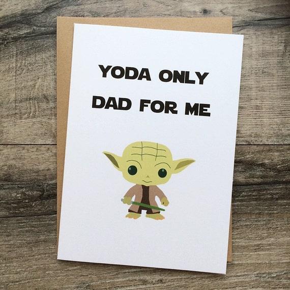 Handmade Fathers Day Or Birthday Card. Yoda Star Wars. Dad