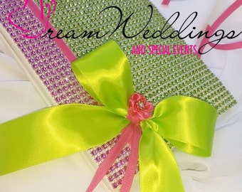 Pink and Lime Green Rhinestone Wedding Guest Book