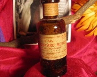 Vintage 1916 Mustard Merck Corktop Bottle Allyl Isothiocyanate solution