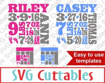 Baby Birth Announcement SVG, DXF, EPS, Vector, Digital Cut File