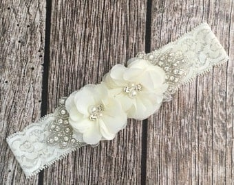 Ivory headband, rhinestone headband, flower girl headband, vintage headband, lace headband, rhinestone and pear, flower girl