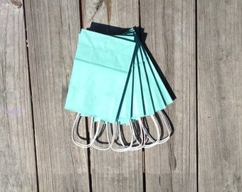 50 Pack-Turquoise Gift Bags with Handle 5.5x3.25x8.375