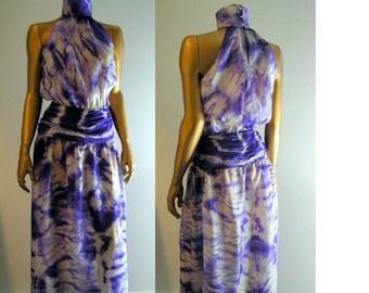 Gossamer silk purple white tie dye festival dress XS