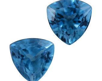 Swiss Blue Topaz Trillion Cut Loose Gemstones Set of 2 1A Quality 7mm TGW 2.95 cts.