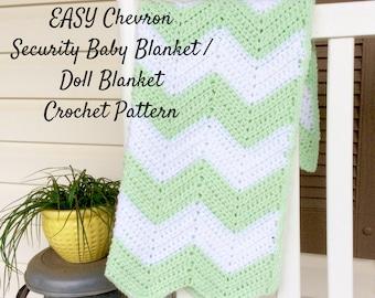 Easy Chevron Security Blanket Crochet Pattern, Beginners Crochet Pattern and Photo Tutorial, Crochet Pattern for Baby Blanket