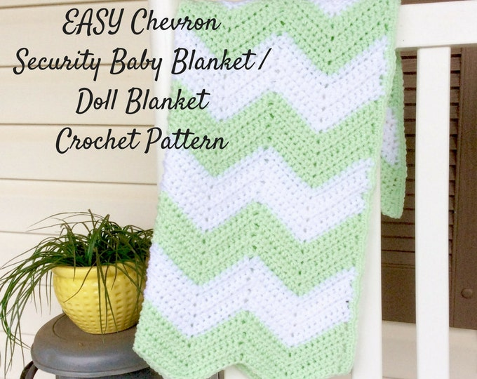 Easy Chevron Security Blanket Crochet Pattern, Beginners Crochet Pattern and Photo Tutorial, Crochet Pattern for Baby Blanket