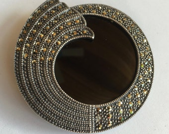 Art Deco Style Sterling Silver Marcasite & Onyx Large Brooch