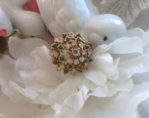 18KT HGE Cocktail Ring Rhinestones Emerald Opal Size 7 Statement Electroplated Large Vintage Costume Romantic Bridal Wedding Mother'