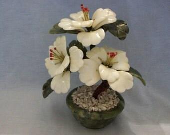 Vintage Jade/Marble Bonsai Tree Decorative Plant